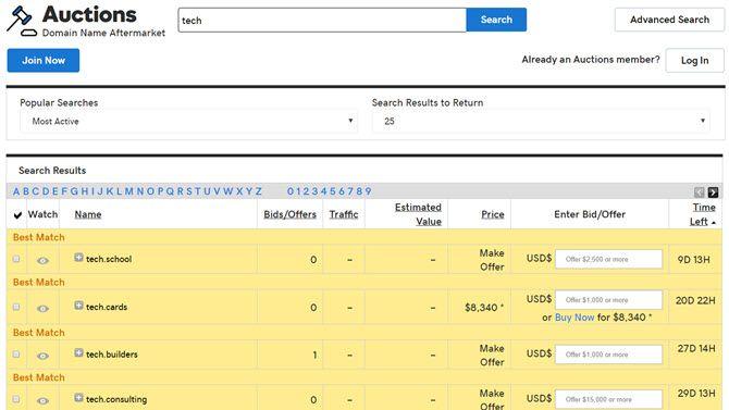 godaddy domain auctions