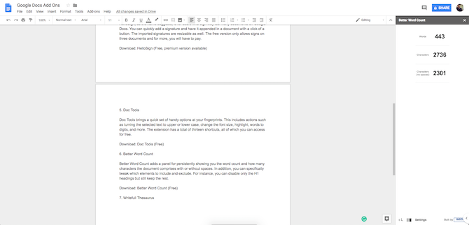Google Docs Better Word Count Add-On