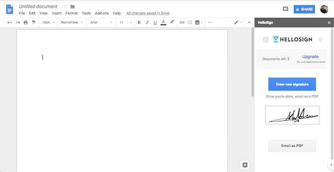 Google Docs HelloSign Add-On
