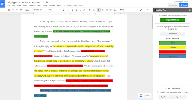 Google Docs Highlight Tool Add-On
