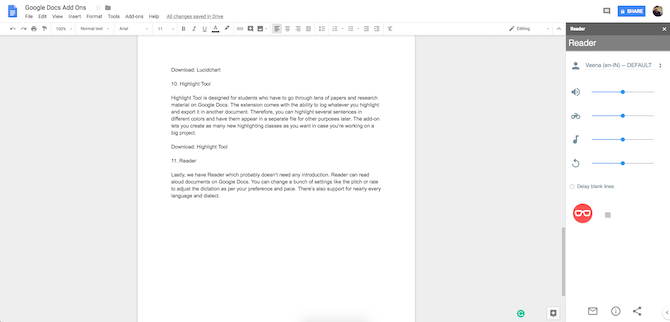 Google Docs Reader Add-On