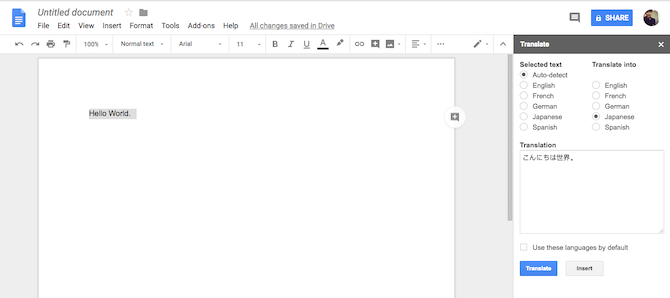 Google Docs Translate Add-On