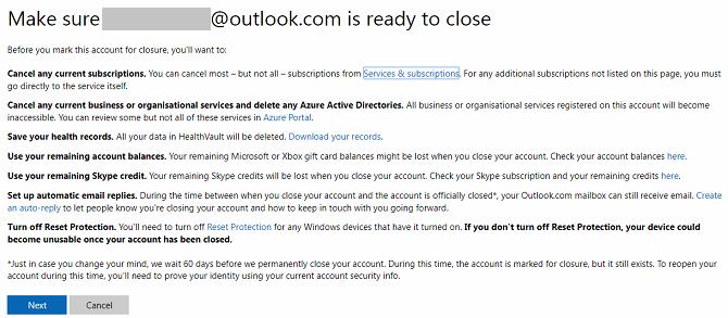 close microsoft account screen
