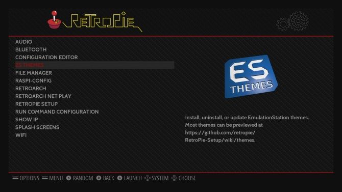 browse the RetroPie configuration menu