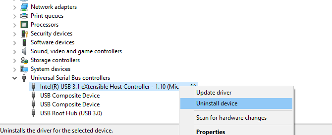 Uninstall the USB host controller