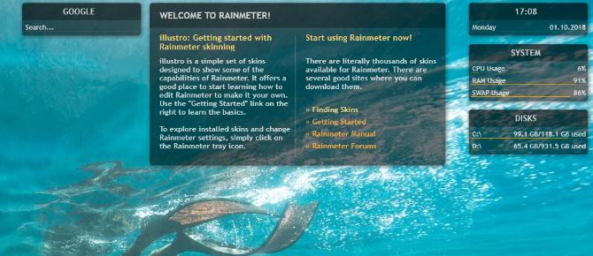 Get desktop widgets with Rainmeter