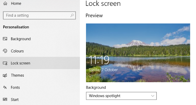 Change the login screen background on Windows 10