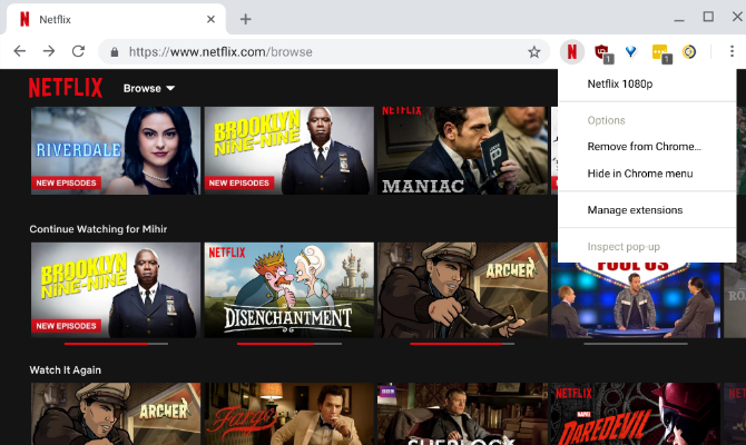 Netflix 1080p extension lets you stream Netflix in full hd 1080p on Chrome