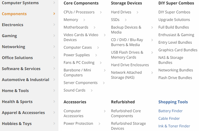 newegg components menu