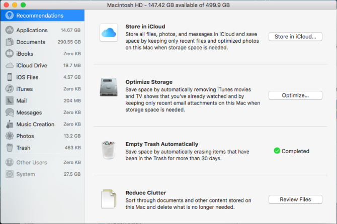 optimized storage window Mac