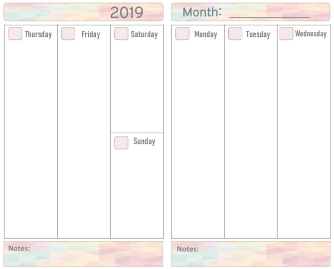 Make Your Own Zone's free printable 2019 calendar