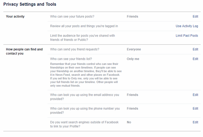 facebook privacy settings screen