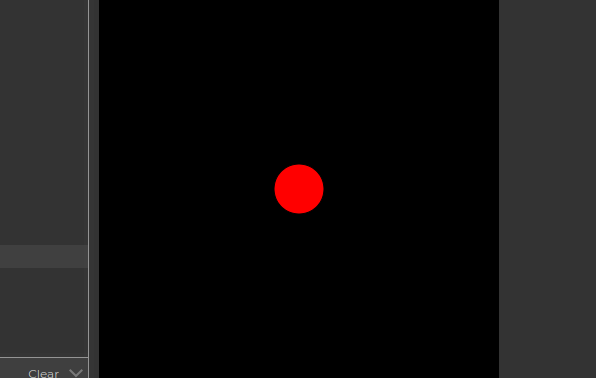 A red circle on a black background canvas in p5.js
