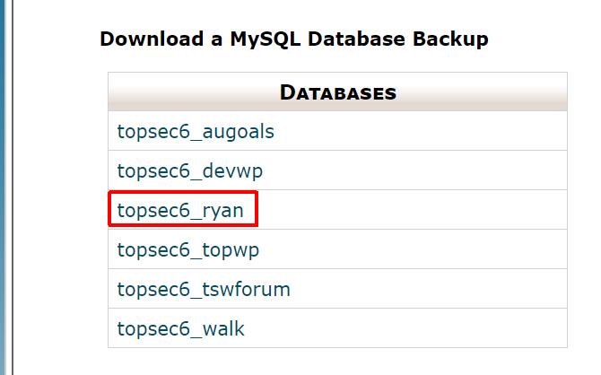 save old website database