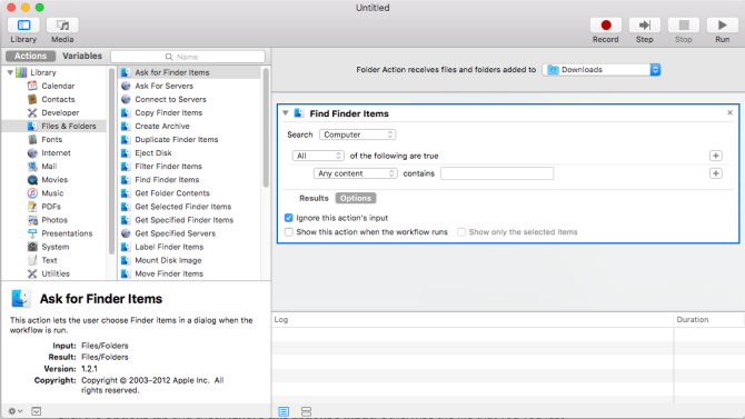 setting up the rule in automator