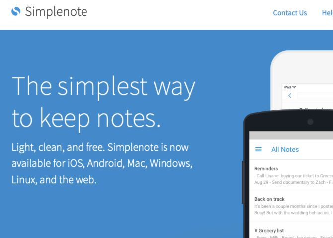 Simplenote-homepage-view