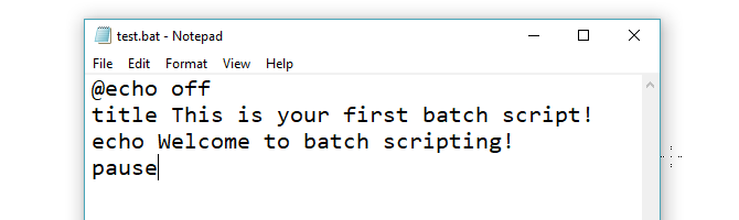 Test Bat File written in Notepad