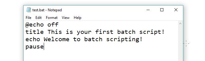 Test Bat File written in Notepad