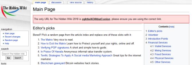 the hidden wiki tor 2018