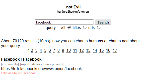 tor search not evil