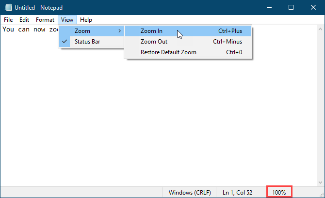 Zoom menu in Notepad
