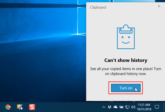 Enable Clipboard history on the clipboard in Windows 10