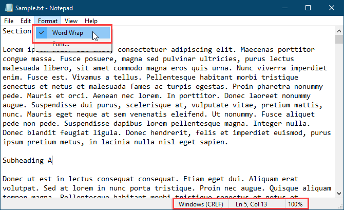 Word wrap enabled with Status Bar showing in Notepad