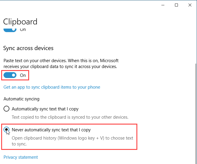Enable Sync across devices for the Windows 10 clipboard