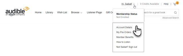 how to delete amazon audible account