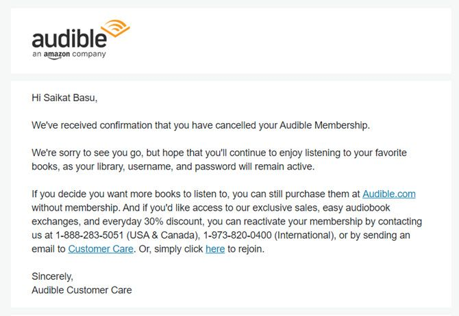 Audible Cancellation Mail