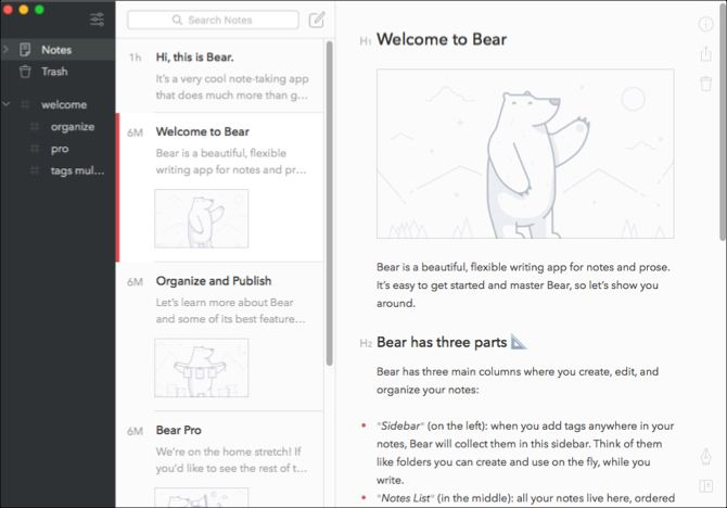 Bear on Mac