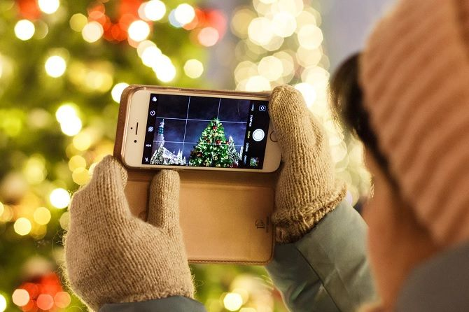 Taking a photo on an iPhone for Christmas
