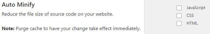 Cloudflare Auto Minify options