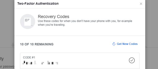 Codes de récupération Facebook