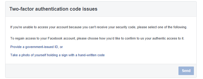 Facebook Two-Factor Authentication Code Issues