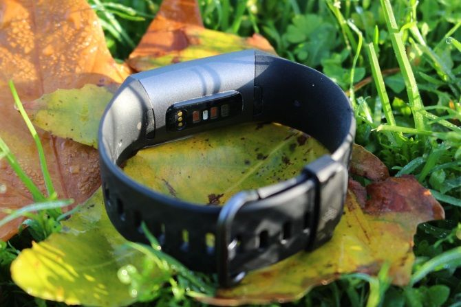 Underside Of Fitbit Charge 3 On Leaves