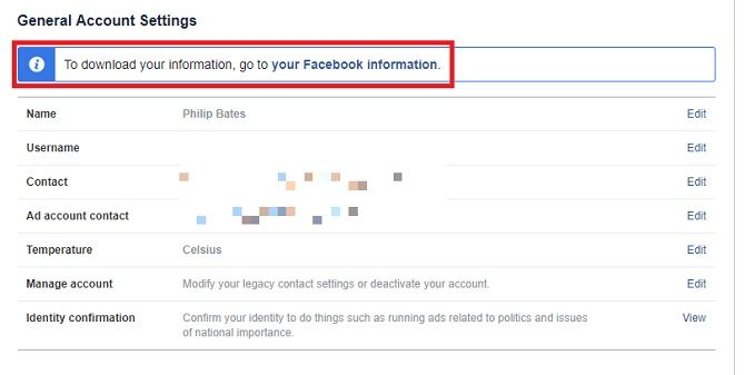 Facebook general account settings let you download all personal information