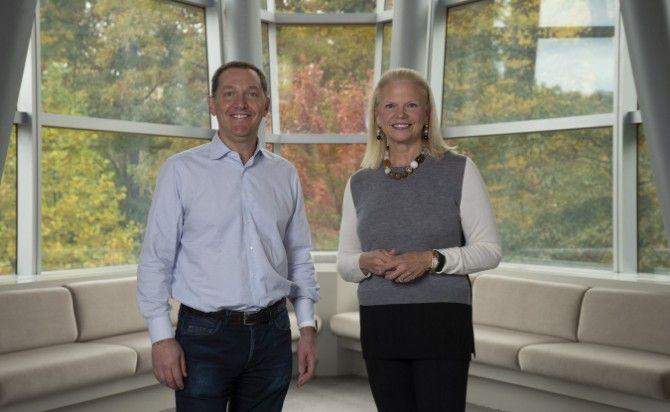 Red Hat CEO Jim Whitehurst and IBM CEO Ginni Rometty
