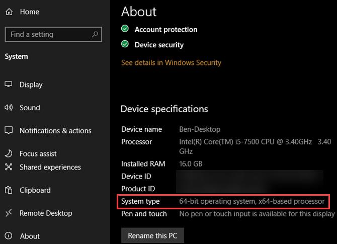 Info Windows 10 64-Bit