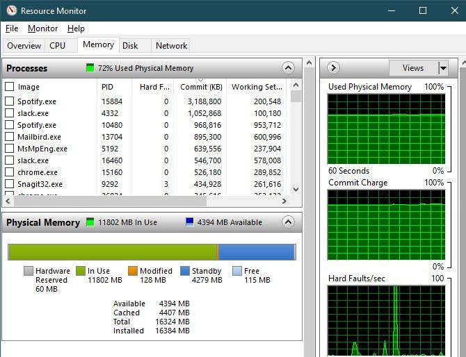 Windows Resource Monitor Memory
