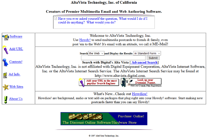 Screenshot of AltaVista in 1997