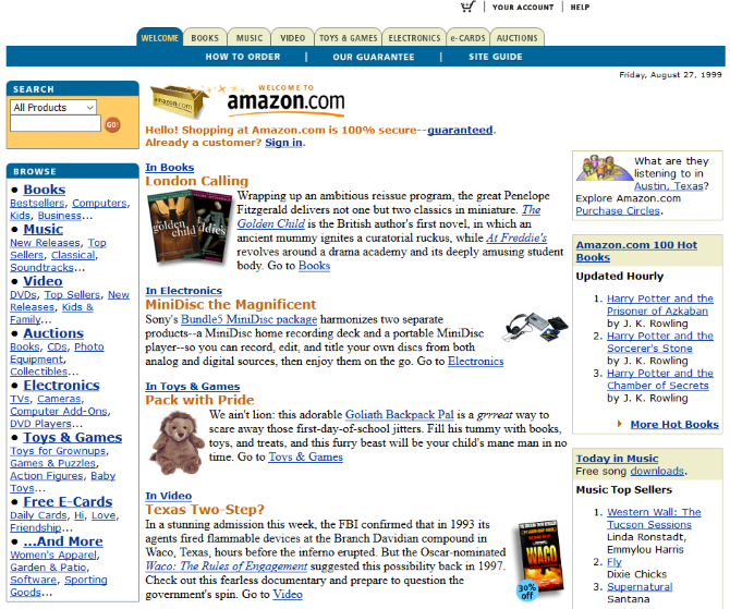 Screenshot of Amazon's website in 1999