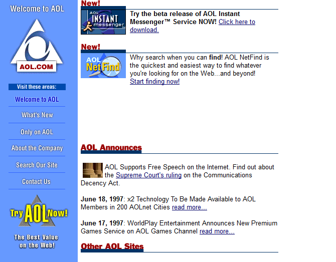 Screenshot of AOL's website in 1997