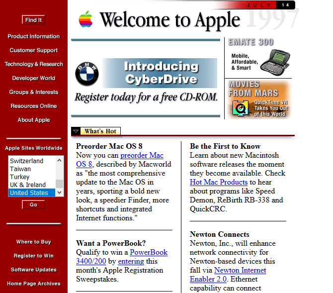 Screenshot of Apple in 1997