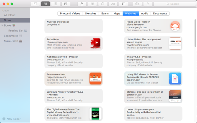 attachments browser in apple notes