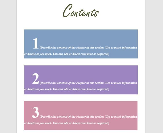 table of contents design template
