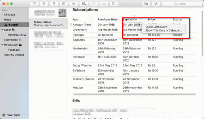 create an event from apple notes in mac