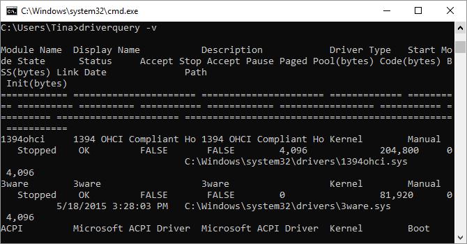 Prompt dei comandi di Windows che mostra il comando driverquery.