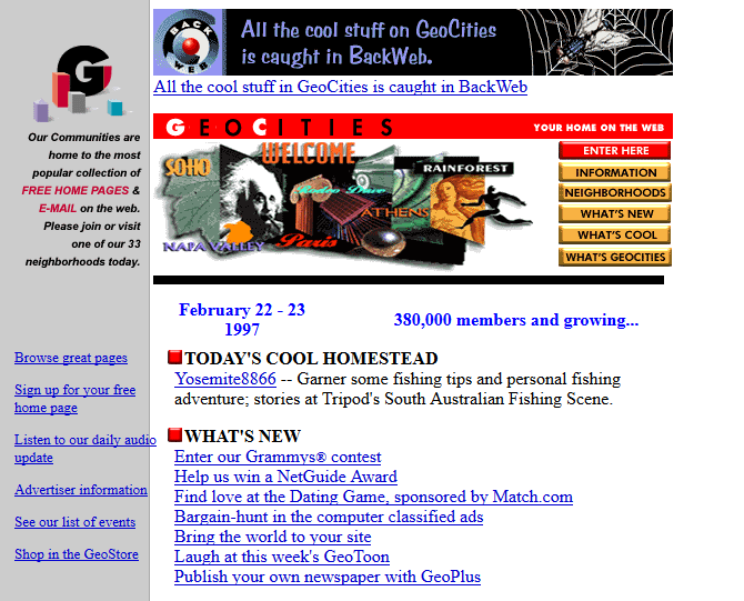 Screenshot of GeoCities' website in 1997
