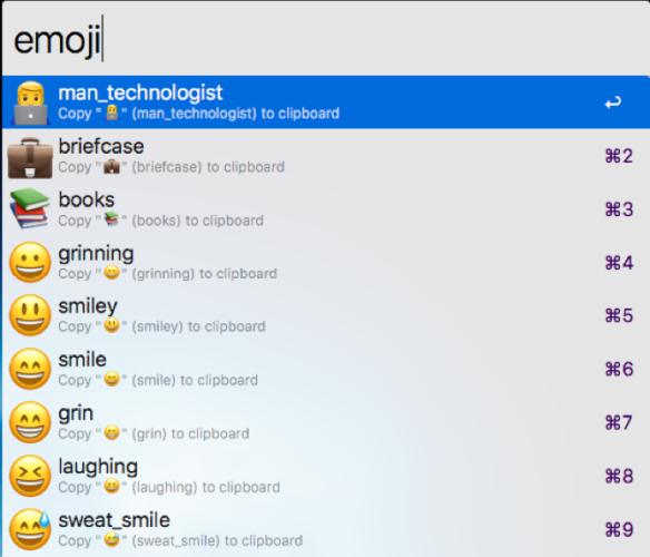 insert emoji with an alfred workflow